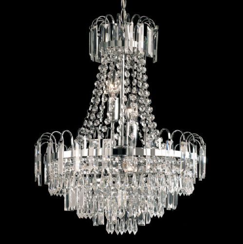 Amadis 6 Light Chandelier, Chrome Finish With Glass Drops 96826-CH